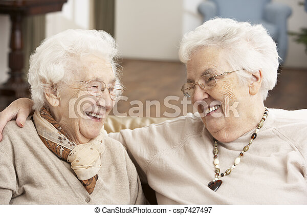 Two Senior Women Friends At Day Care Centre - csp7427497