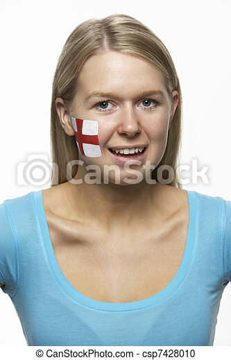 Young Female Sports Fan With St Georges Flag Painted On Face - csp7428010