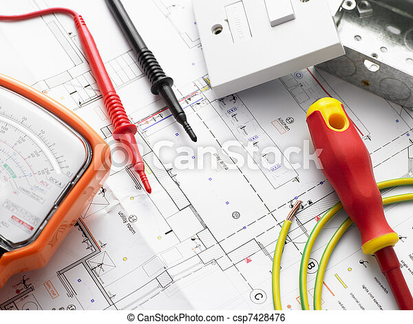Electrical Equipment On House Plans - csp7428476