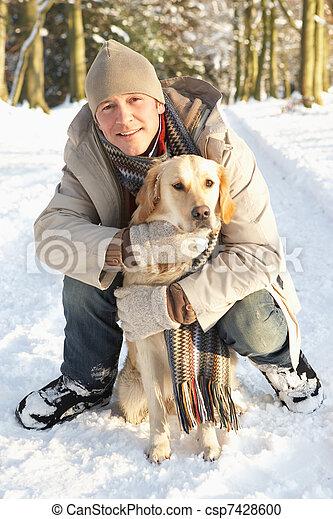 Man Walking Dog Through Snowy Woodland - csp7428600