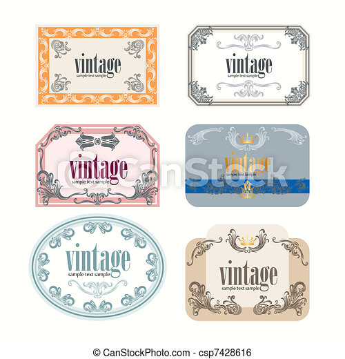 Clip Art Vector of Vintage Wine Labels Design Template csp7428616 – Free Wine Label Design