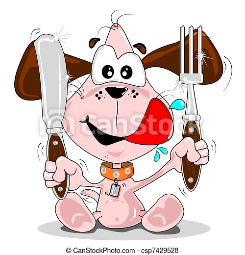 Puppy dog meal time - csp7429528