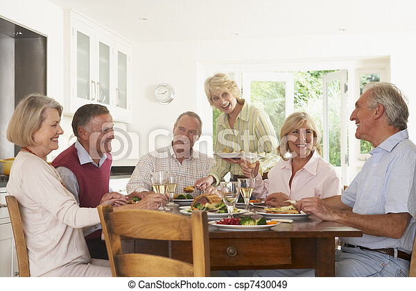 Friends Enjoying Lunch At Home Together - csp7430049