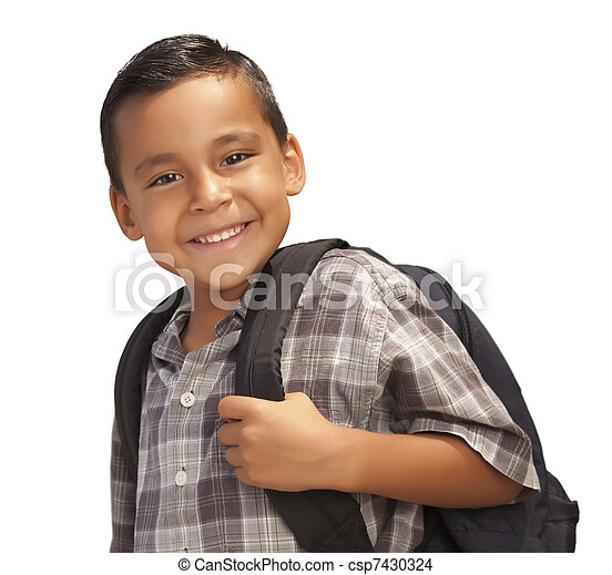 Happy Young Hispanic Boy Ready for School on White - csp7430324