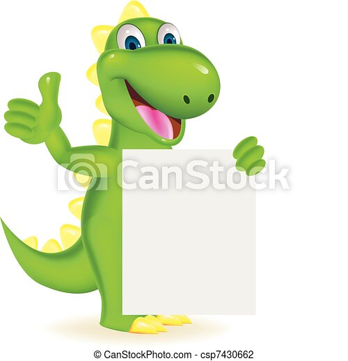 Green dinosaur with blank sign - csp7430662