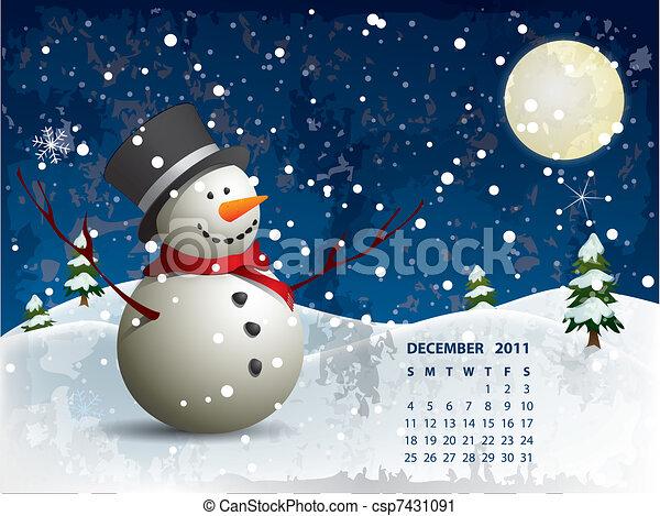 Vector Clip Art of December calendar - Snowman csp7431091 ...