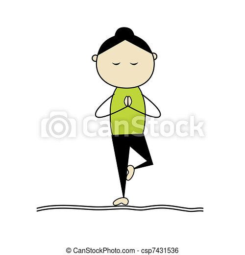 Woman practicing yoga, tree pose - csp7431536