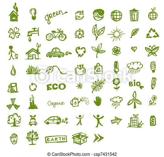 Green ecology icons for your design - csp7431542
