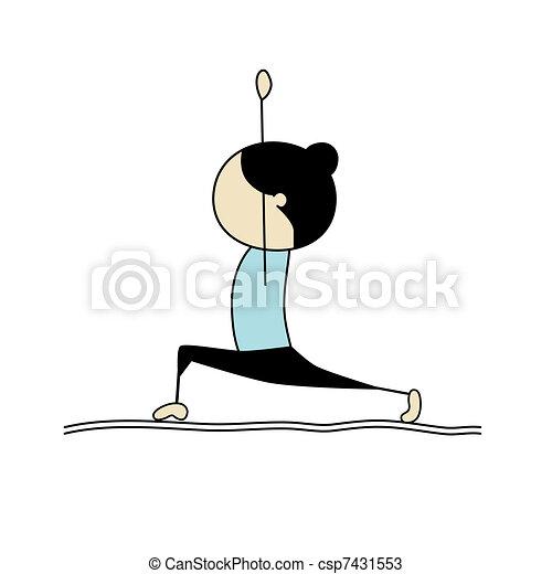 Woman practicing yoga, warrior pose - csp7431553