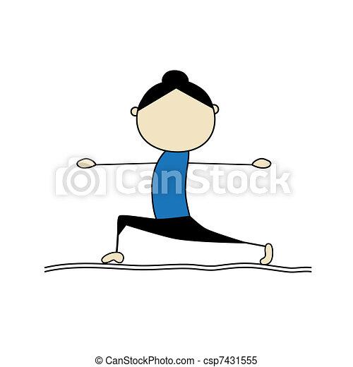 Woman practicing yoga, warrior pose - csp7431555