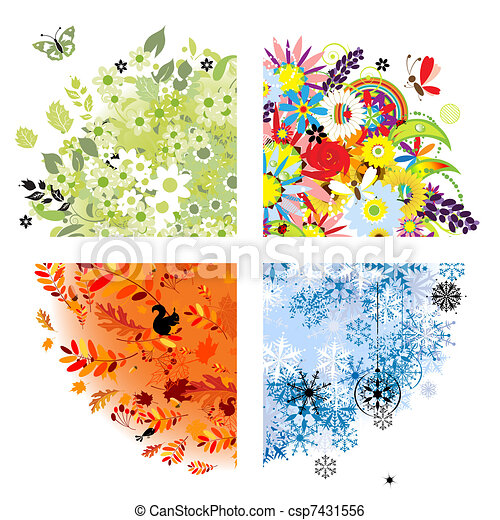 Four seasons - spring, summer, autumn, winter. - csp7431556