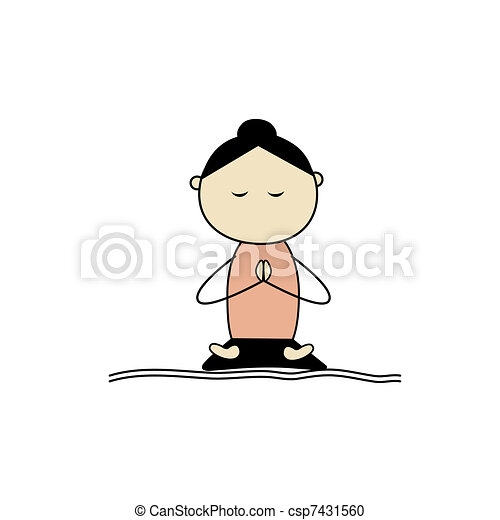 Woman practicing yoga, lotus pose - csp7431560