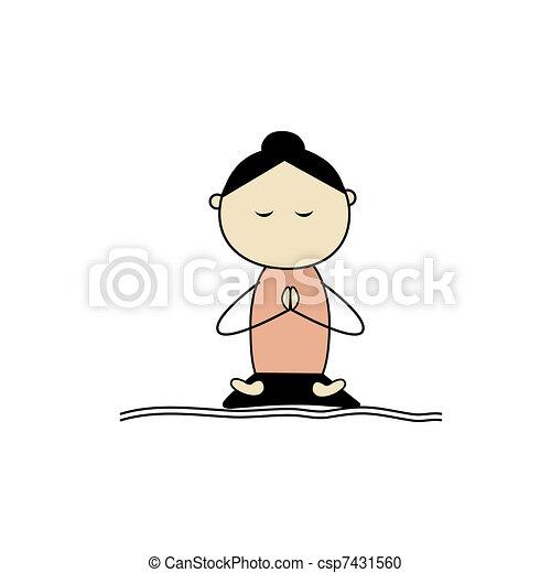 Woman practicing yoga, lotus pose - csp7431560