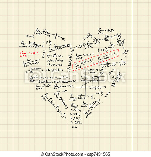 Heart shape with math formulas for your design - csp7431565