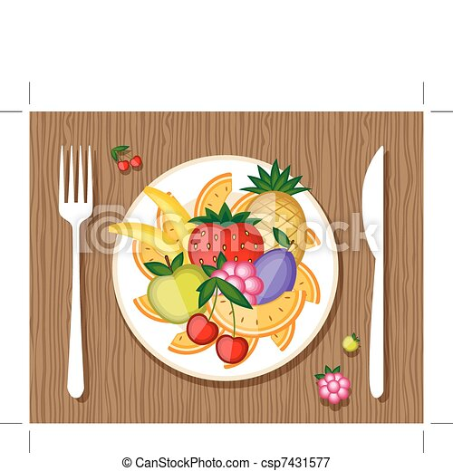 Fruits on plate with fork and knife on wooden background for your design - csp7431577