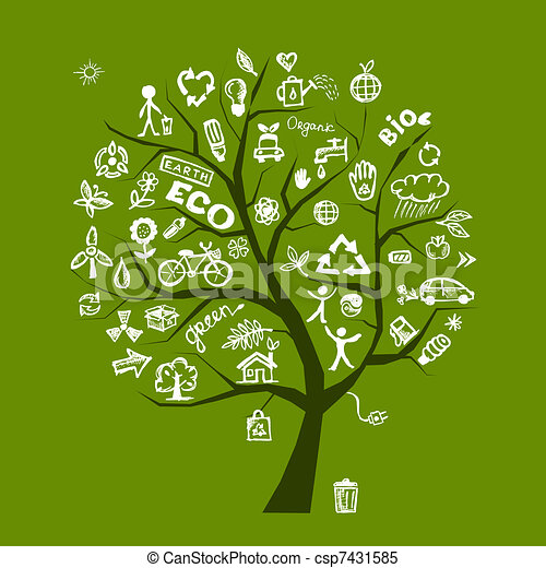 Green ecology tree concept for your design - csp7431585