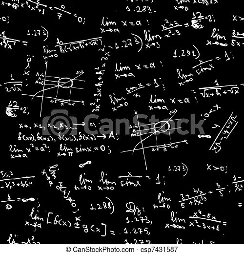 Seamless background with math formulas on blackboard - csp7431587