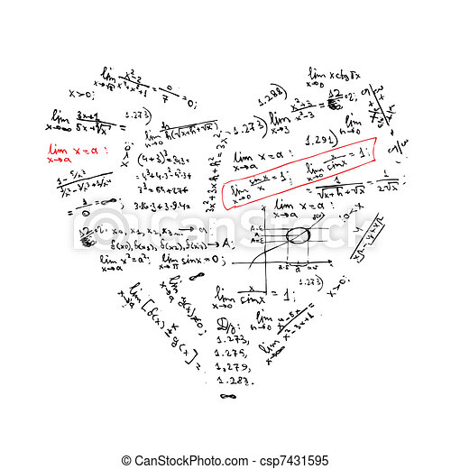 Heart shape with math formulas for your design - csp7431595