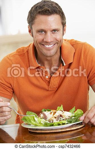 comer, saudável, meio, envelhecido, refeição, homem - csp7432466