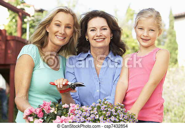 Senior Woman With Adult Daughter And Granddaughter Gardening Together - csp7432854
