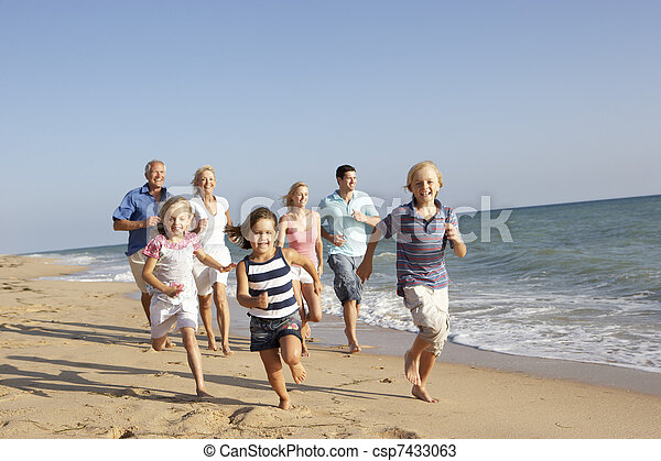 Portrait Of Three Generation Family On Beach Holiday - csp7433063