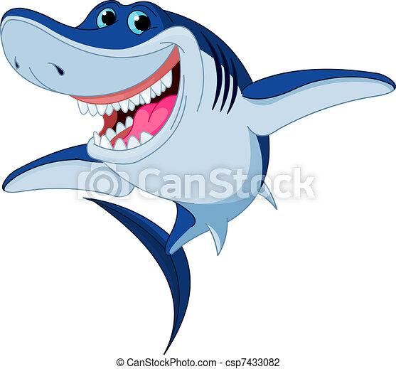 Cartoon  funny shark - csp7433082