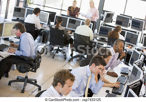 View Of Busy Stock Traders Office - csp7433125