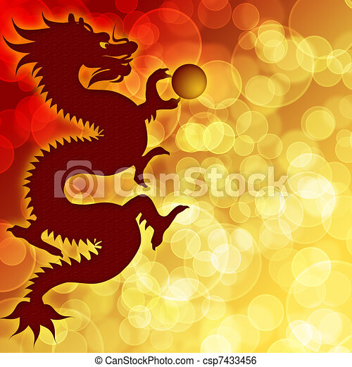 Happy Chinese New Year Dragon with Blurred Background - csp7433456
