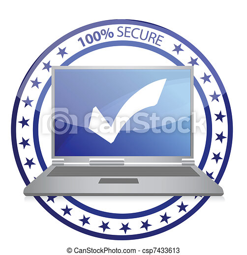 Safe computer illustration design  - csp7433613