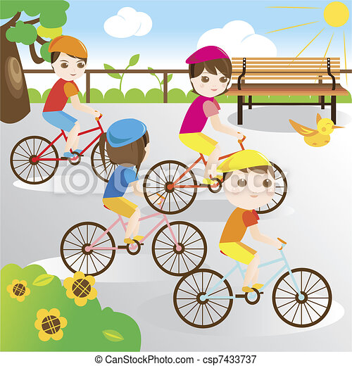 Family riding bicycle in the park - csp7433737
