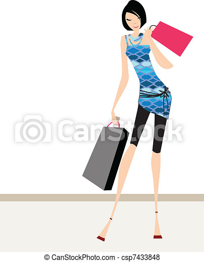 Glamour girl standing with shopping - csp7433848