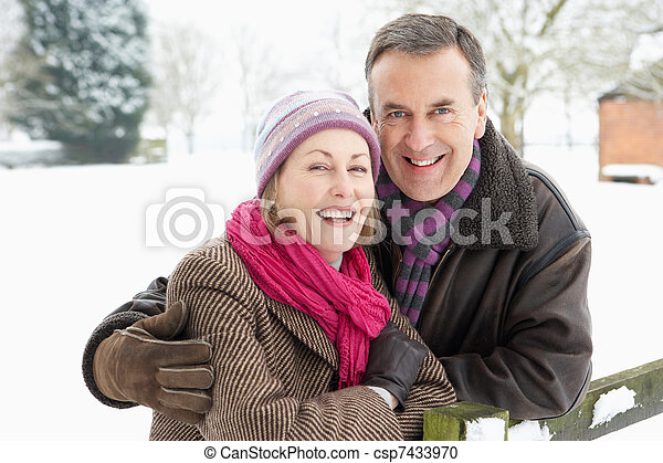 Senior Couple Standing Outside In Snowy Landscape - csp7433970