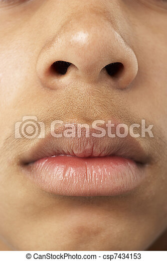 Close-Up Of Young Boy's Mouth And Nose - csp7434153