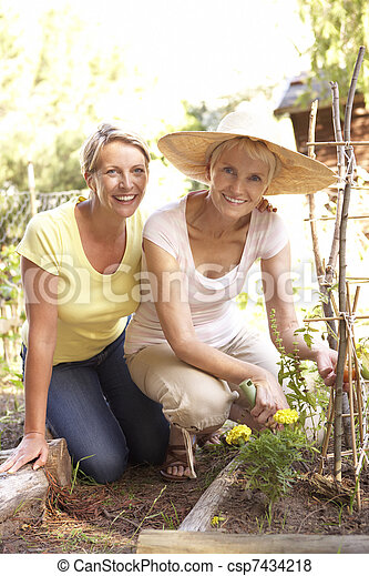 Senior Woman And Adult Daughter Relaxing In Garden - csp7434218