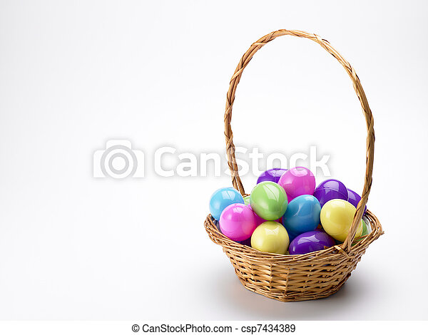 Basket Of Colorful Easter Eggs - csp7434389