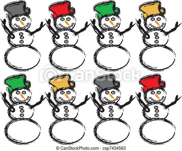 Vecteurs de color bonhomme de neige mod le bonhomme de neige csp7434563 recherchez - Modele bonhomme de neige ...