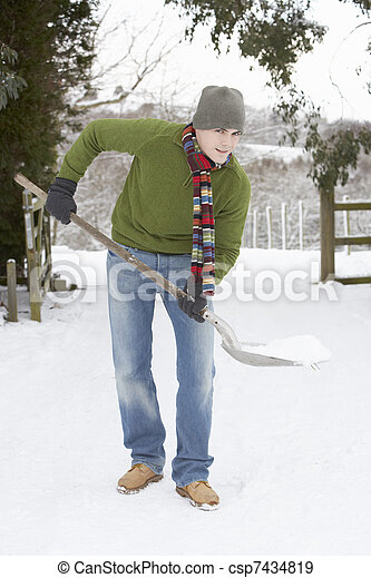 Young Man Clearing Snow From Drive - csp7434819