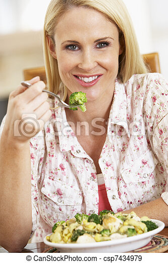 Mid Adult Woman Eating A Healthy Meal - csp7434979