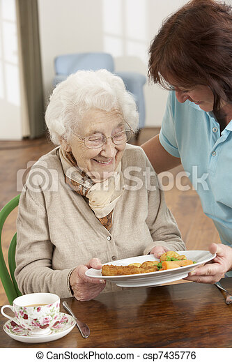 Senior Woman Being Served Meal By Carer - csp7435776