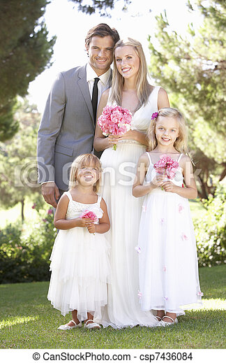 Bride And Groom With Bridesmaid At Wedding - csp7436084