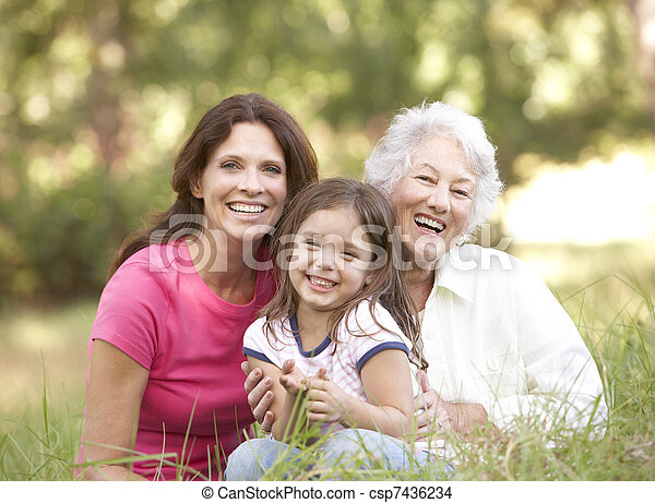 Grandmother With Daughter And Granddaughter In Park - csp7436234