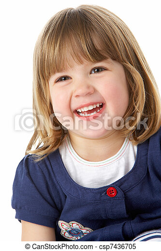 Studio Portrait Of Laughing Young Girl - csp7436705