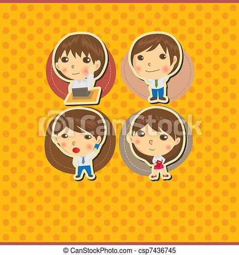 Cartoon office worker card - csp7436745