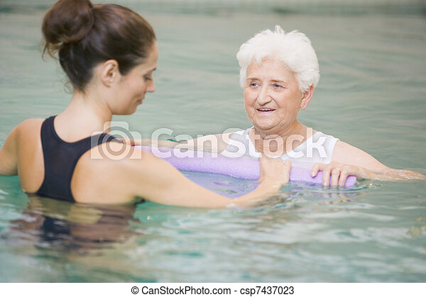 Instructor And Elderly Patient Undergoing Water Therapy - csp7437023