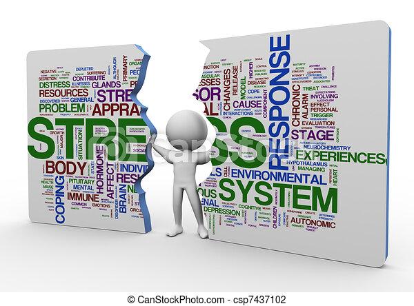 3d man and stress wordcloud - csp7437102