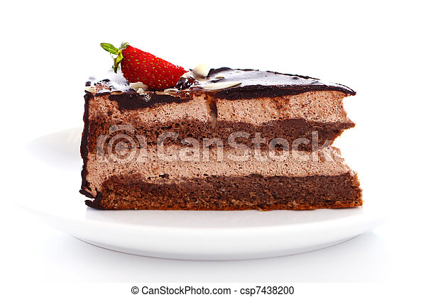 Slice of tasty chocolate cake with strawberry on top - csp7438200