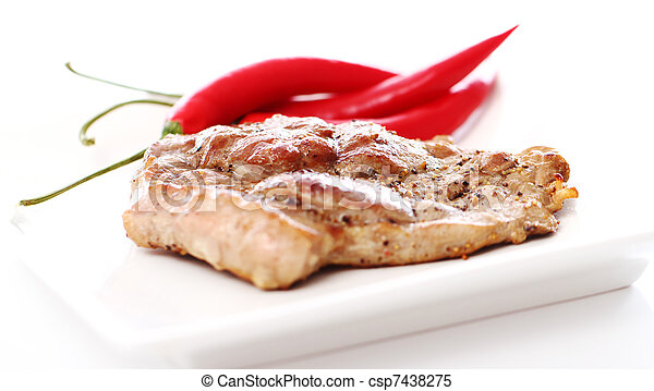 Grilled steak and chilli pepper - csp7438275