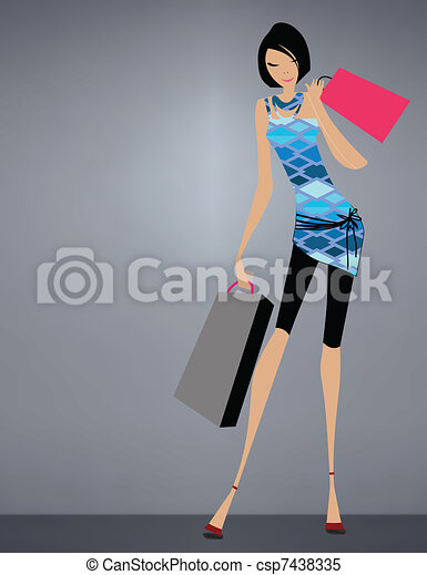 Glamour girl standing with shopping - csp7438335