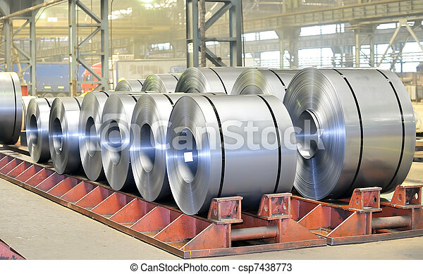 rolls of steel sheet in a warehouse - csp7438773