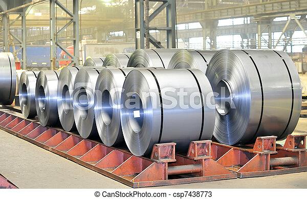 rolls of steel sheet in a warehouse  - csp7438773